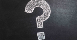 Question mark drawn on chalkboard